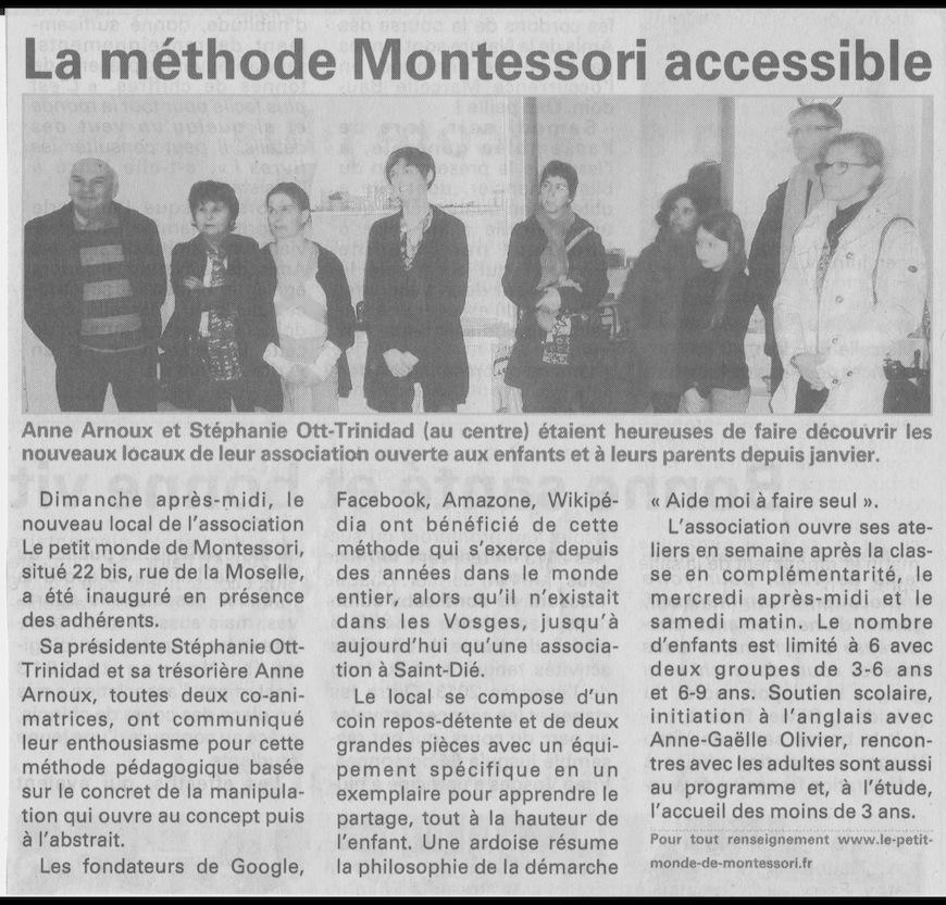 Article sur le Petit monde de Montessori dans Vosges Matin
