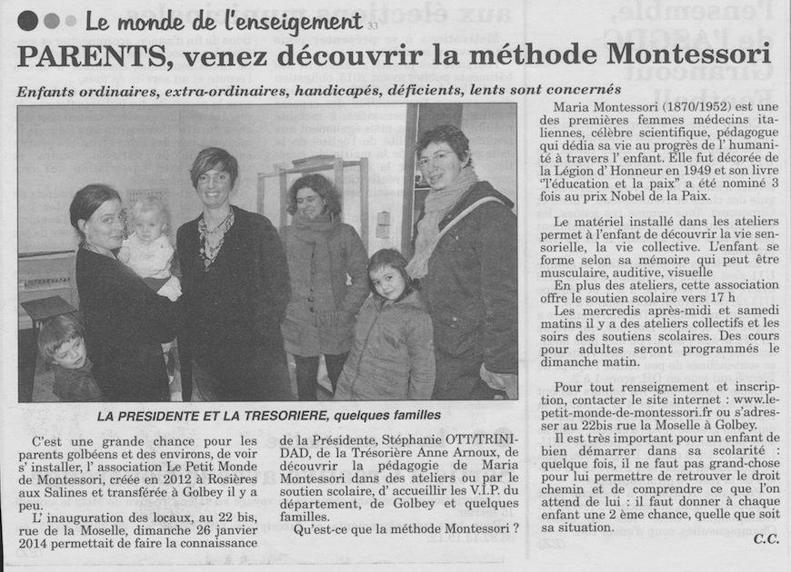 Article de l'Echo des Vosges